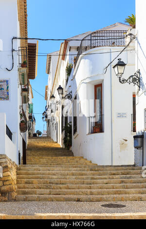 Typical street, Altea Old Town, Altea, Costa Blanca, Spain - Stock Photo