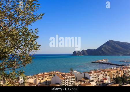 View across Altea towards the Mediterranean Sea, Costa Blanca, Spain - Stock Photo