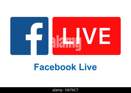 Facebook Live logo sign on white background printed on paper. - Stock Photo