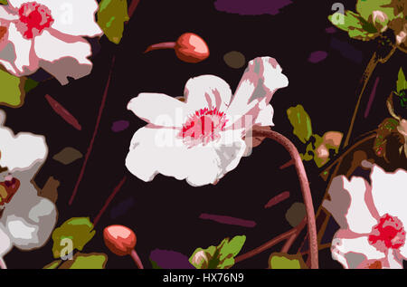 Pop-art style illustration of Anemone flowers and buds on rich background - Stock Photo