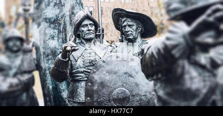 Two statues from the group of Russian bronzes detailing Night Watch based on the painting by Rembrandt in Amsterdam, - Stock Photo