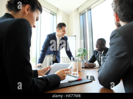 Entrepreneurs and business people conference in modern meeting room. - Stock Photo