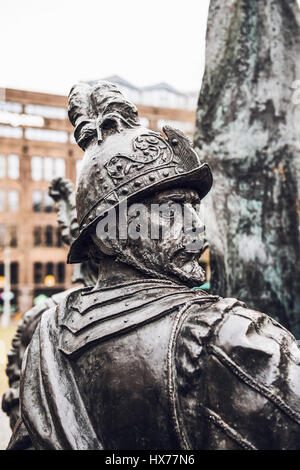 Detail of a sculpture from the Night Watch, Amsterdam based on the famous painting by rembrandt depicting a man - Stock Photo