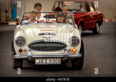 Austin Healey 3000 MK111 3 litre convertible car. Vintage 1960's English classic participating in a vintage car - Stock Photo