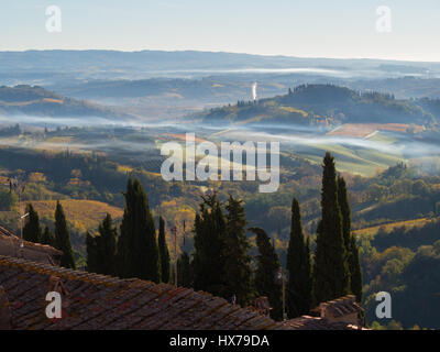Tuscany landscape at dawn - Stock Photo
