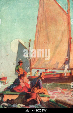 A Lazy Day on a Summer Cruise - Passing the Time of Day with the Fisherman - W.J. Aylward. Painting circa 1916 - Stock Photo