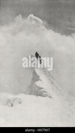 Climbing Mount Resplendent, Mount Robson Park, British Columbia, Canada, circa 1916 - Stock Photo