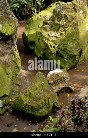 giant stone and broken tablet found in forest - Stock Photo