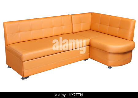 Leather Corner Sofa With Storage, light brown  colored,   isolated on white background,  include clipping path. - Stock Photo