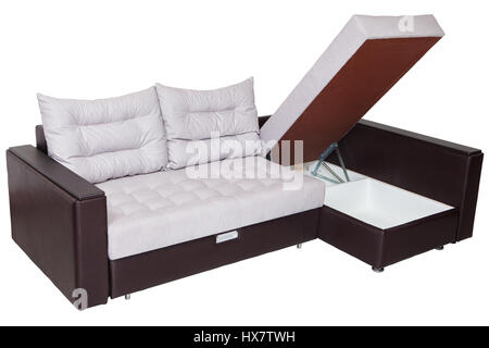 Corner Convertible Sofa Bed With Storage Space, Upholstery Soft White  Fabric And Armrests Upholstered