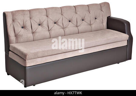 Folding light brown fabric sofa bed with storage,  isolated on white background, saved path selection. - Stock Photo
