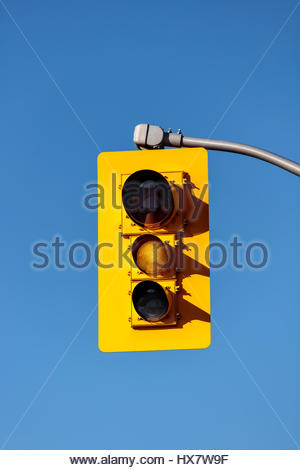 traffic lights, showing yellow, yellow, traffic signals, traffic lamps, signal lights, traffic control signals, - Stock Photo