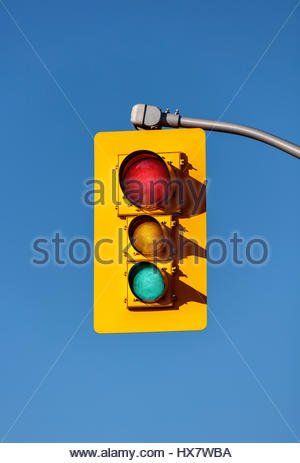 traffic lights, showing red yellow and green, traffic signals, traffic lamps, signal lights, traffic control signals, - Stock Photo