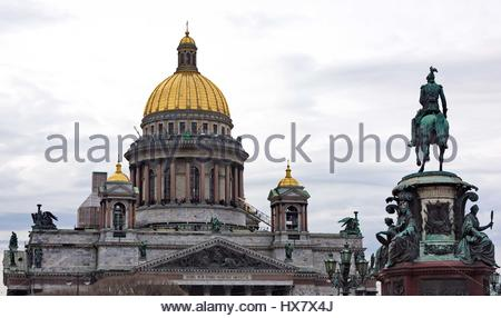 Saint Isaac's Cathedral and the Monument to Emperor Nicholas I, St. Petersburg, Russia - Stock Photo