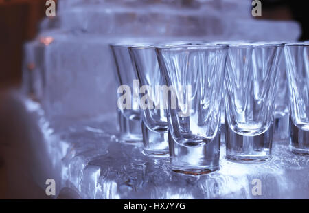Wine glasses on the table served for the reception in the restau - Stock Photo