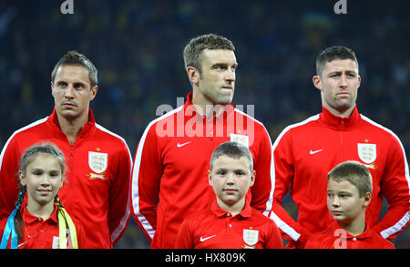 KYIV, UKRAINE - SEPTEMBER 10, 2013: Players of England National football team listen to national anthems before - Stock Photo