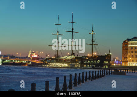 St.Petersburg, Russia - January 10, 2016: winter evening in the tourist center of the city, view of the ice-covered - Stock Photo