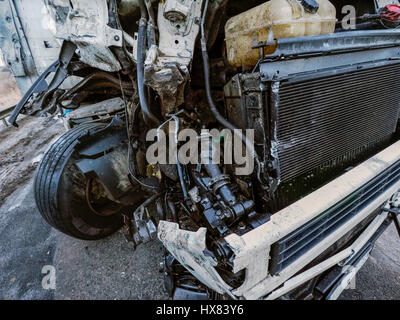 Cabin of a truck injured during an accident - Stock Photo