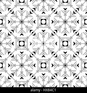 Geometric seamless pattern with traditional elements of the Chuvash culture on a white background. Black-and-white - Stock Photo