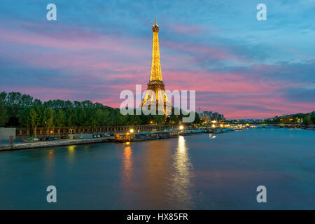PARIS, FRANCE - May 8, 2016 : Cityscape of Paris, France with Eiffel Tower at night on . The Eiffel tower is the - Stock Photo