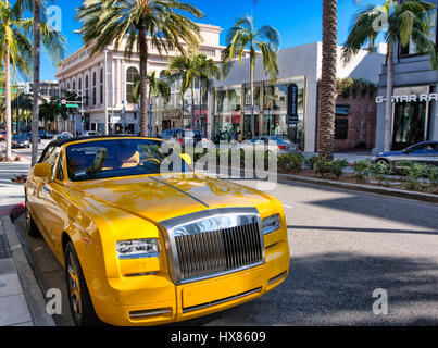 Luxury car parked on Rodeo Drive, Beverly Hills - Stock Photo