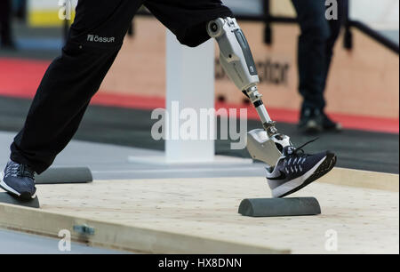 Kloten, Switzerland. 8th Oct, 2016. A disabled athlete with a leg prosthesis is walking a parcour at Cybathlon, - Stock Photo