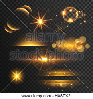 set of golden glitters lights and sparkles with lens effect on transparent background - Stock Photo