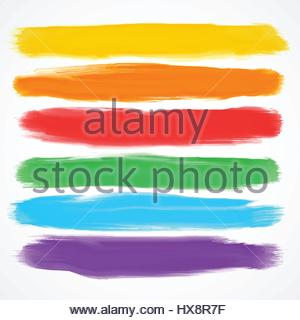 set of six different watercolor brushes - Stock Photo