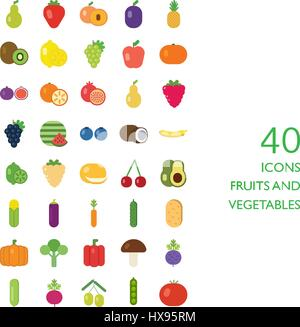 fruits and vegetables vector set - Stock Photo