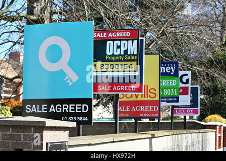 Row for sale signs, let sign from different estate agents erected outside an apartment building Dublin Ireland, - Stock Photo