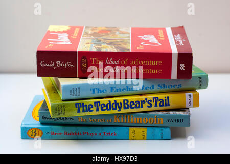 Stack / Pile of Enid Blyton Books, classic kids books, childrens books, young readers love to read, reading, education - Stock Photo
