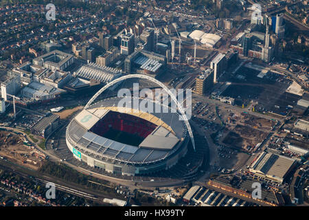 Aerial view of Wembley football stadium, London, England