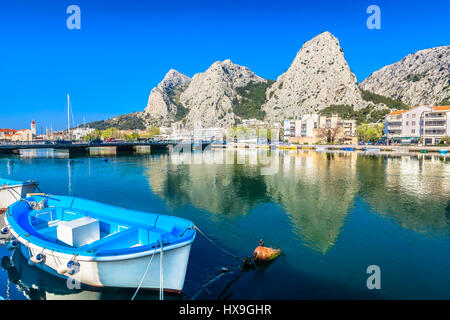 Waterfront view at coastal town Omis in Dalmatia region, Croatia. - Stock Photo