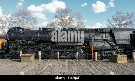 Panoramic view of a Baldwin Locomotive Works 2925 Santa Fe parked at Old Sacramento State Historic Park, viewed - Stock Photo