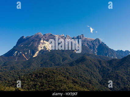 Blue sky scenery of Mount Kinabalu beautiful in Sabah Borneo, Malaysia. - Stock Photo