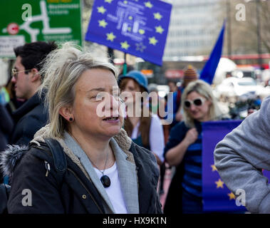 Westminster, Central London, UK, 25th March 2017. Natalie Bennett, former leader of the Green party joins thousands - Stock Photo