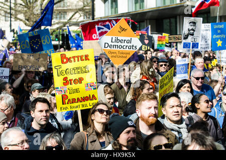 London, UK. 25th Mar, 2017. Unite For Europe National march to Parliament. The Pro-Europe demonstration has been - Stock Photo