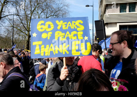 London, UK, 25th March 2017. Thousands of people protest in central London against Brexit, as Theresa May will trigger - Stock Photo