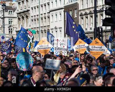 London, UK. 25th Mar, 2017.  Banners, flags and signs carried by participants of the March for Europe. Credit: Ghene - Stock Photo