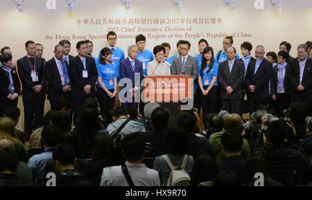 Hong Kong, China. 26th Mar, 2017. Lam Cheng Yuet-ngor meets the press after winning the election in Hong Kong, south - Stock Photo