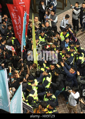 Hong Kong, China. 26th Mar, 2017. A group of people participating in a pro-democracy demonstration in Hong Kong, - Stock Photo