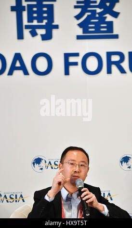 Boao, China's Hainan Province. 26th Mar, 2017. Chen Gang, CEO of Mafengwo.com, addresses the session of 'Defining - Stock Photo