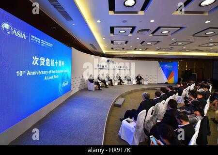 Boao, China's Hainan Province. 26th Mar, 2017. The session of 'the 10th Anniversary of the Subprime Crisis: A Look - Stock Photo