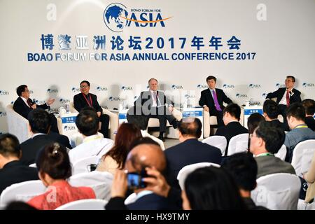 Boao, China's Hainan Province. 26th Mar, 2017. The session of 'Looking at the Economy from the Supply Side' is held - Stock Photo