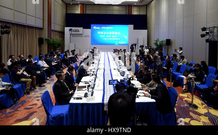 Boao, China's Hainan Province. 26th Mar, 2017. A Cross-Straits CEO Roundtable meeting is held during the Boao Forum - Stock Photo