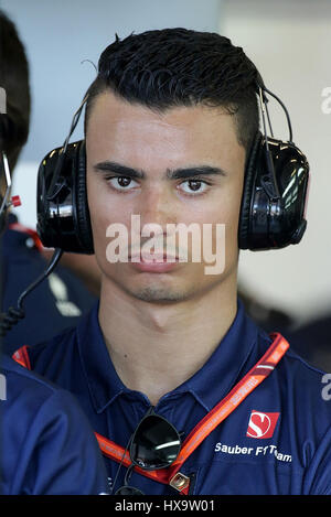 Melbourne, Australia. 25th Mar, 2017. The German Formula One driver Pascal Wehrlein from Sauber F1 Team standing - Stock Photo