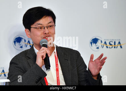 Boao, China's Hainan Province. 26th Mar, 2017. Fan Ling, founder of Tesign, speaks at the session of 'Design: Not - Stock Photo