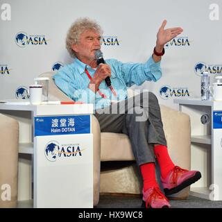 Boao, China's Hainan Province. 26th Mar, 2017. Hartmut Esslinger, founder of Frog Design, speaks at the session - Stock Photo