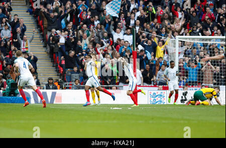 London, UK. 26th Mar, 2017. Jermain Defoe (2nd L) of England celebrates after scoring during the FIFA World Cup - Stock Photo