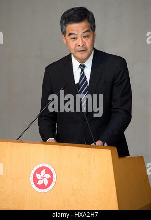 Hong Kong, Hong Kong, China. 27th Mar, 2017. The Chief Executive of Hong Kong, CY Leung (Pictured), meets with the Chief Executive Elect, CARRIE LAM. Carrie Lam won the election with 777 votes out of the 1,194 eligible votes making her the city's first female leader. Credit: Jayne Russell/ZUMA Wire/Alamy Live News
